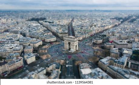 Aerial view of Paris, tilt shift, miniature