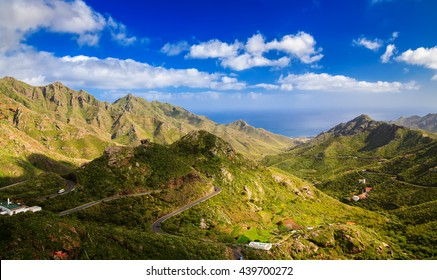 aerial view of Park Rural Anaga with its mountains and Forest, Tenerife, Canary Islands, Spain