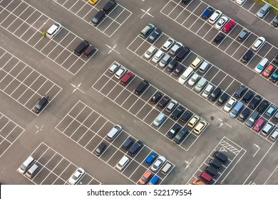 Aerial view of a parking lot in Osaka in Japan