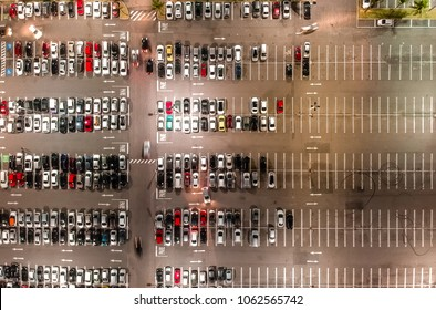 Aerial view of a parking lot in shopping mall in Rio de Janeiro, Brazil