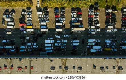 Aerial view. Parking lot viewed from above