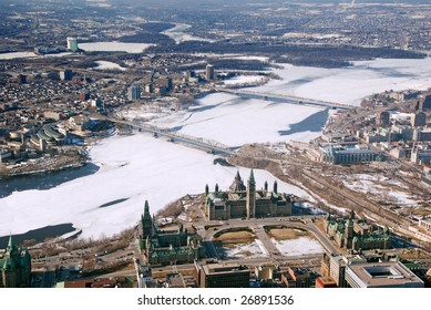 aerial view of parliament hill in Ottawa and the city of Gatineau Quebec across the Ottawa River