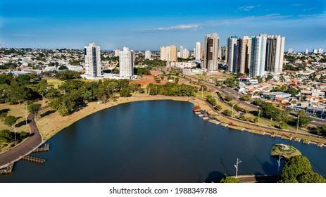 Aerial view of the Parque das Nações Indígenas. Campo Grande, Mato Grosso do Sul, Brazil