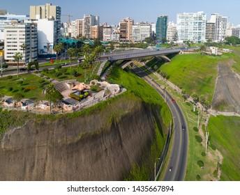 "Aerial view of ""Parque del Amor"" in Miraflores, Lima, Peru."