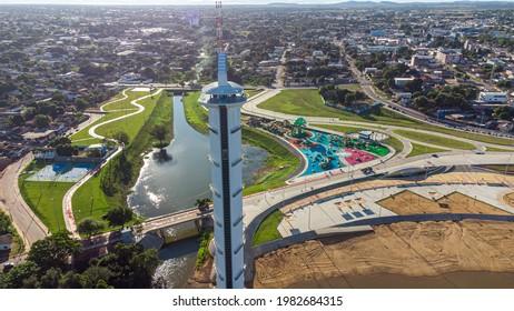 Aerial view of Parque do Rio Branco in Boa Vista, Roraima. Northern Brazil