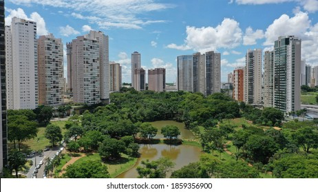 Aerial view of Parque Flamboyant with residential buildings, tropical nature and gorgeous lakes. Goiania, Goias, Brazil