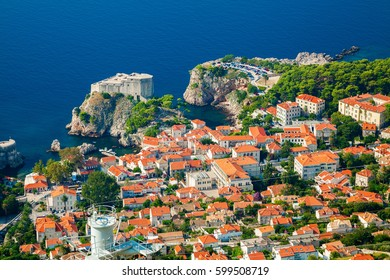 aerial view of the part of Dubrovnik Old town with Fort Lovrijenac, South Dalmatia, Croatia