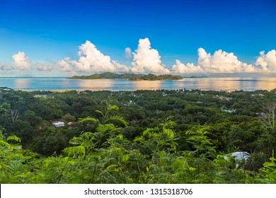 Aerial view of part of La Digue Island close to Belle Vue, Praslin Island, Silhouette and Ile du Nord in the background, Seychelles