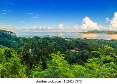 Aerial view of part of La Digue Island close to Belle Vue. Mahé, Praslin Island, Silhouette and Ile du Nord in the background, Seychelles