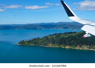 Aerial view of part of Wellington, Point Halswell on the Miramar Peninsula, taken from a commercial airplane