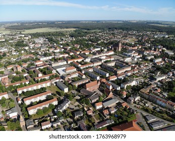 Aerial view of Pasewalk, a town in the Vorpommern-Greifswald district, in the state of Mecklenburg-Vorpommern in Germany. Located on the Uecker river.