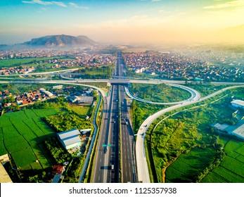 Aerial View of Pasir Koja Highway Interchange, Soroja and Purbaleunyi Toll Road, Bandung, West Java Indonesia, Asia