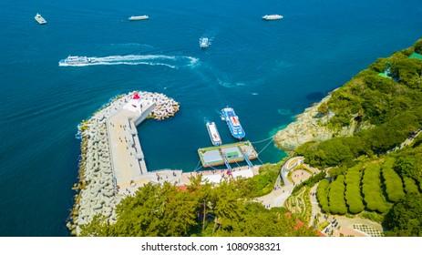 Aerial view of passenger wharf at Oedo -Botania island, garden scenery at summer day in Geoje, Korea