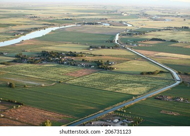 An aerial view of a patchwork of farm fields