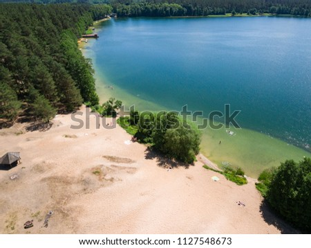 "Aerial view of ""Patelnia: beach by Biale Augustowskie lake, Poland, Europe"