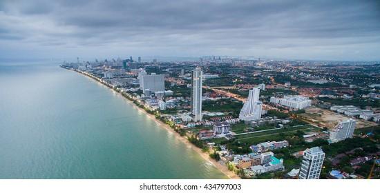 Aerial view of Pattaya beach