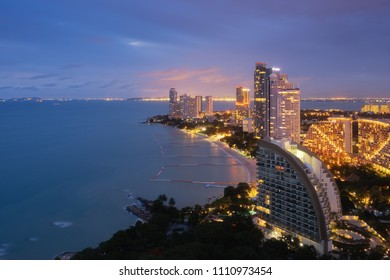 Aerial view of Pattaya City at dusk. Pattaya is the most famous tourist attraction in East of Thailand.