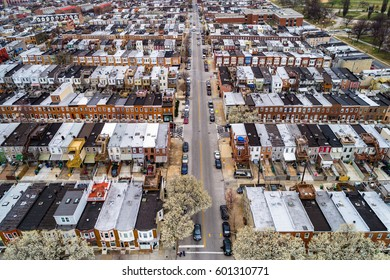 Aerial view of the Patterson Park neighborhood, in Baltimore, Maryland.
