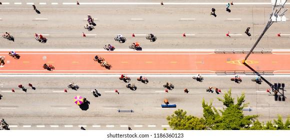 Aerial view of the Paulista Avenue bike lane on a Sunday in Sao Paulo, Brazil,