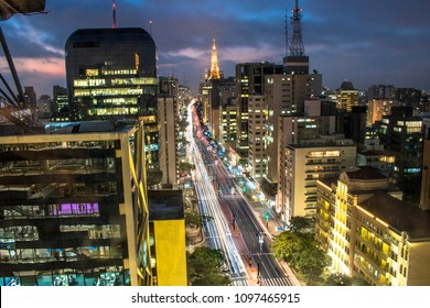 Aerial view of Paulista Avenue and sky line of Sao Paulo city at night