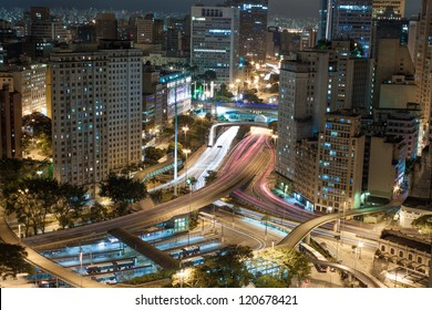 An aerial view of S�£o Paulo City Center. Anhangaba�º Valley is seen, Bandeira Bus Terminal and Shopping Light can be seen too.