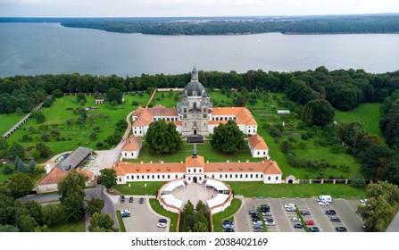 An aerial view of Pazaislis Monastery among the beautiful nature in Kaunas, Lithuania