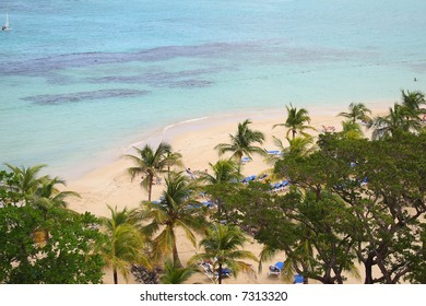 Aerial view of a peaceful beach and shoreline in tropical Jamaica