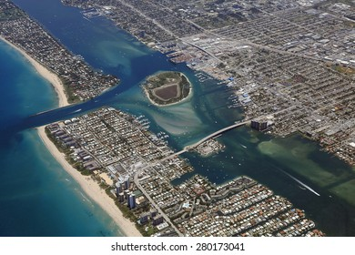 Aerial view of Peanut Island and the Port of Palm Beach, Florida