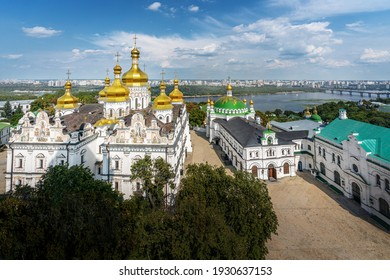 Aerial view of Pechersk Lavra Monastery and Dormition Cathedral - Kiev, Ukraine