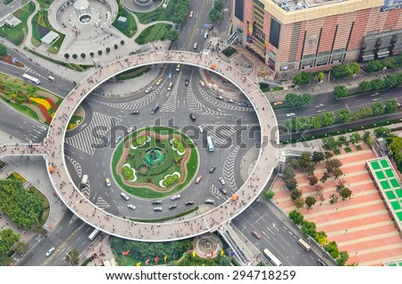 Aerial view of the Pedestrian bridge, the Pearl Ring, from the top of a tower in Lujiazui, Shanghai, China.