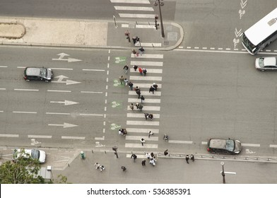 aerial view of pedestrian crossing on street