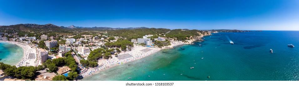 Aerial view, view of Peguera with hotels and beaches, Costa de la Calma, Caliva region, Mallorca, Balearic Islands, Spain