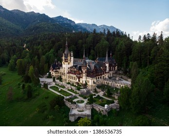 Aerial view of Peles castle in Romania