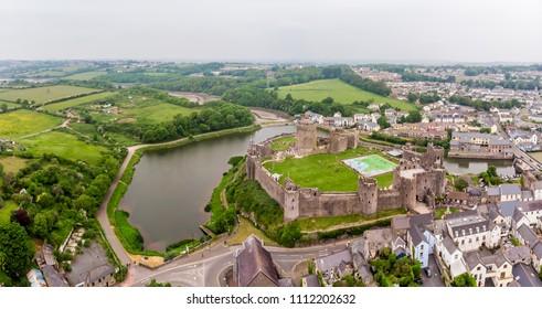 Aerial view of Pembroke castle, Wales