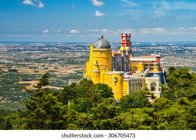 Aerial view of the Pena National Palace in Sintra, Portugal