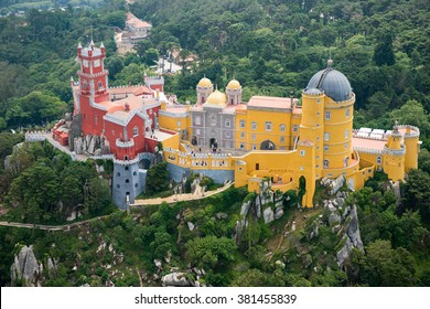 Aerial view of Pena Palace, Sintra, Portugal