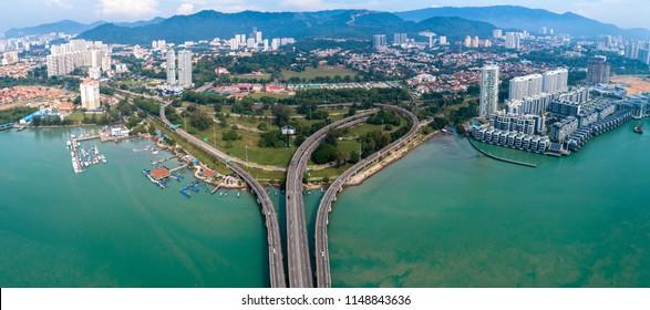 Aerial view of Penang Island from Penang 1st Bridge, Penang, Malaysia