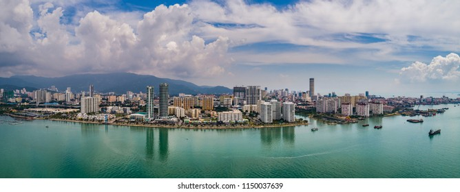 Aerial view of Penang, Malaysia from Karpal Singh Drive in Georgetown.