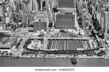 Aerial view of Penn Station and Hudson river in Manhattan.