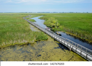 Aerial view of people canoeing along the wooden boardwalk at Point Pelee National Park marsh, southwestern Ontario, Canada. Outdoor, camping, summer sports and activities concept.