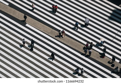 Aerial view of people crossing a big intersection in Tokyo, Japan