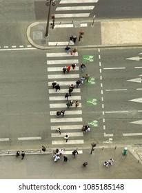 aerial view of people crossing the street on zebra. city scene
