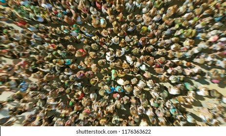Aerial view of a people crowd