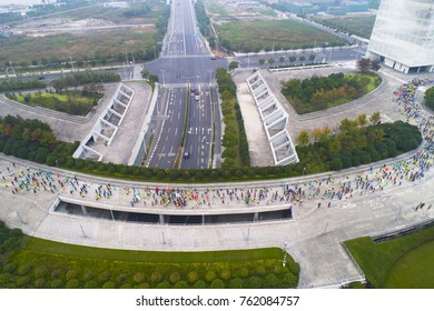 Aerial view of people running in the Shagnhai city marathon,Shanghai China