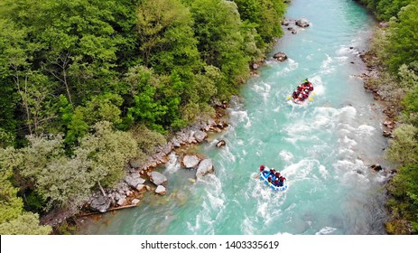 Aerial view of people in two boats whitewater rafting trip on Tara river in Montenegro