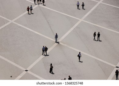 Aerial view from people walking in a street. Lisbon Portugal April 2019