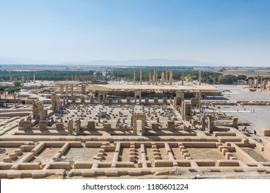 Aerial view of Persepolis in Shiraz, Iran. The ceremonial capital of the Achaemenid Empire. UNESCO World Heritage