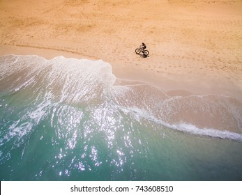 Aerial view of person on beach shore