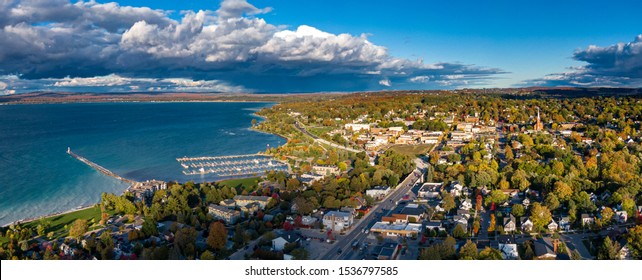 Aerial view of Petoskey, Northern Michigan, autumn evening light.
