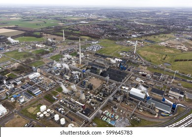 Aerial view of petrochemical plant industrial area. On the horizon the city of Geleen, Netherlands.